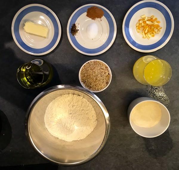 Ingrédients de la recette des melomakarona