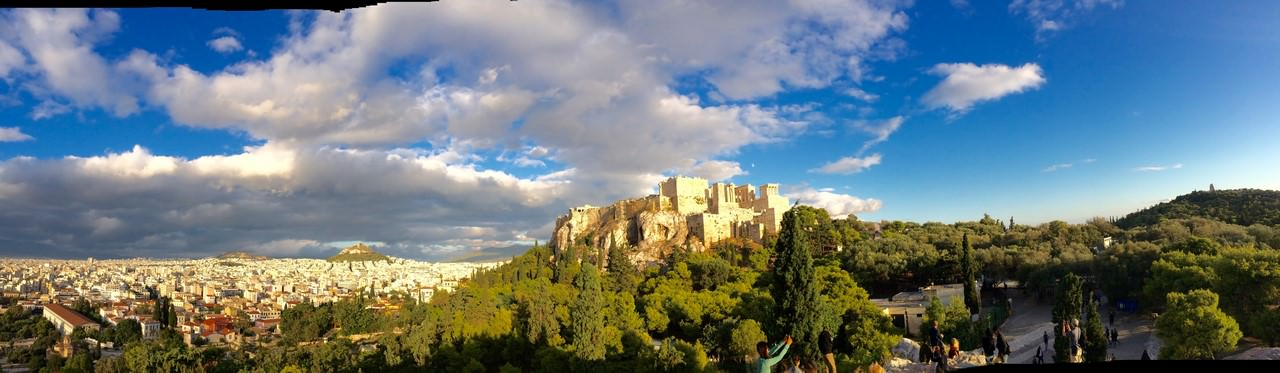 Vue panoramique depuis l'aéropage à Athènes