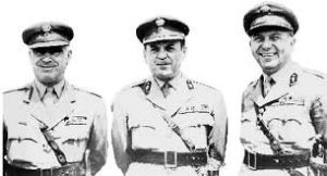 Les 3 colonels : Stylianos Pattakos, Nicolaos Makarezos et Georgios Papadopoulos